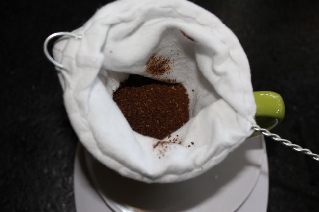 Coffee sock with ground coffee